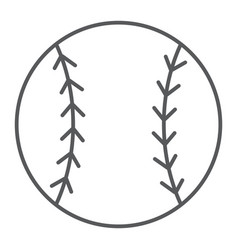 Baseball ball thin line icon game and sport vector