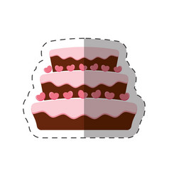 Cake dessert pink heart shadow vector