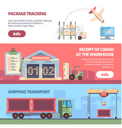 cargo delivery banners loading trailer in vector image
