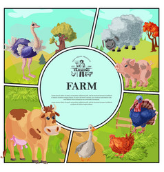 cartoon farm colorful composition vector image