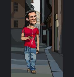 Cartoon man wearing headphones walking around town vector
