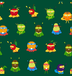 cartoon vegetables and fruit superhero characters vector image