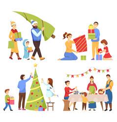 christmas holiday preparation and celebration vector image