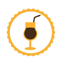 circular frame with cocktail drink vector image