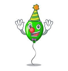 Clown green balloon on character plastic stick vector