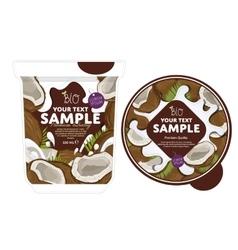 Coconut yogurt packaging design template vector