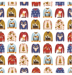 colorful comfortable knitted winter ugly sweaters vector image