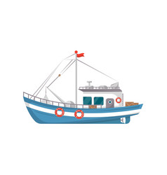 commercial fishing boat side view icon vector image