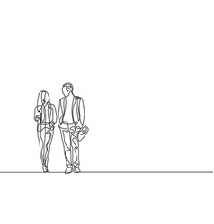 continuous line businessman and businesswoman vector image