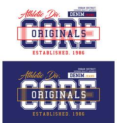 Core denim t-shirt and apparel design vector