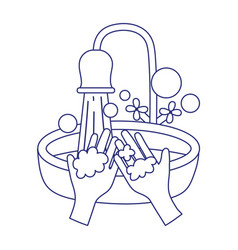 Covid 19 coronavirus washing hands frequently vector