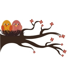 Cute birds decorative card vector