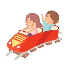 Cute boy and girl riding on roller coaster car vector