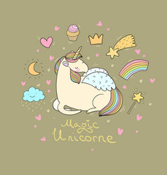 cute cartoon unicorn with wings vector image