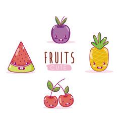 cute fruits kawaii cartoons vector image
