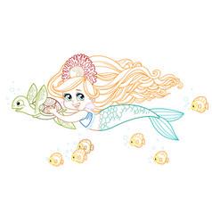 Cute little mermaid girl in coral tiara swims vector
