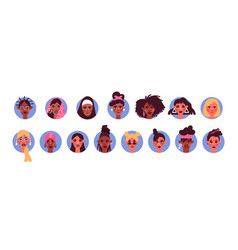 diverse woman face avatar portrait set isolated vector image
