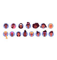 Diverse woman face avatar portrait set isolated vector