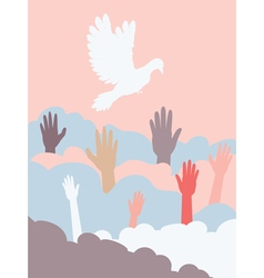 Dove and hands4 vector