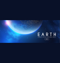 Eath planet in space with lights realistic vector