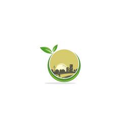 eco cityscape building logo vector image