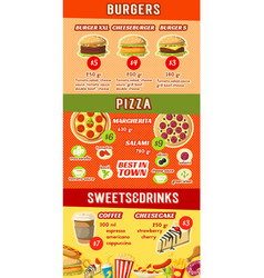 fast food restaurant menu template of lunch dishes vector image