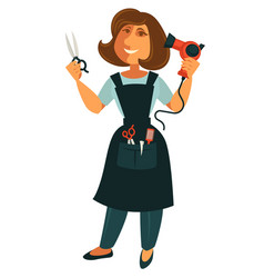 Female hairdresser with scissors and blow dryer vector