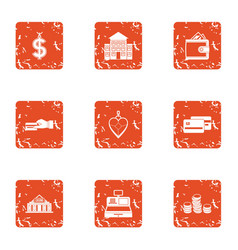 Financial stability icons set grunge style vector