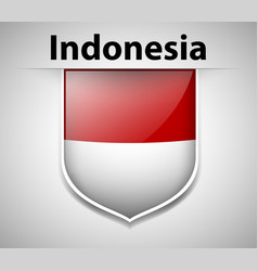 flag of indonesia on badge vector image