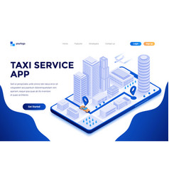 flat color modern isometric concept - taxi vector image