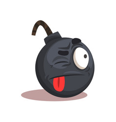 Flat design of bomb emoji face with vector