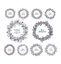 Floral wreaths set hand drawn frames collection vector