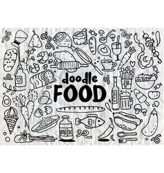 Food and drink doodles elements sketch background vector