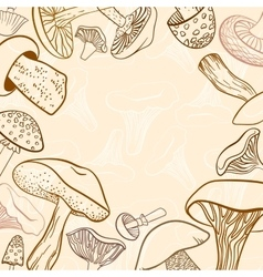 Frame of different hand drawn mushrooms in pastel vector image