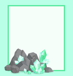 Frame with stone and emeralds poster border vector