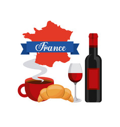 french culture set icons vector image