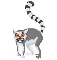 funny lemur cartoon animal character vector image