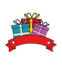 gift box present with ribbon frame vector image