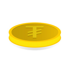 gold coin with symbol of tugrik vector image