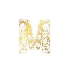 Golden ornamental alphabet letter m font vector