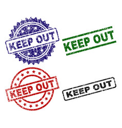 Grunge textured keep out seal stamps vector