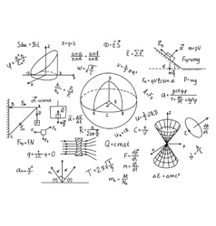 Hand drawn physics formulas Science knowledge vector