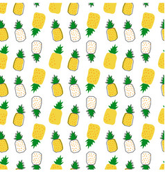 Hand drawn pineapple cartoon pattern seamless vector