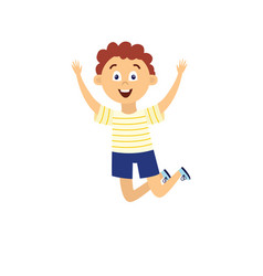 happy cartoon boy jumping high in air with raised vector image