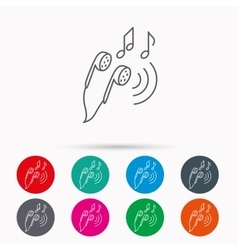 Headphones icon Musical notes signs vector image