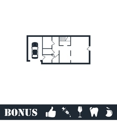 House plan icon flat vector