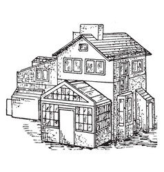 house vintage vector image