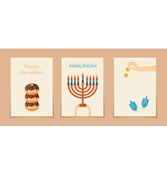 Jewish holiday hanukkah three cards vector
