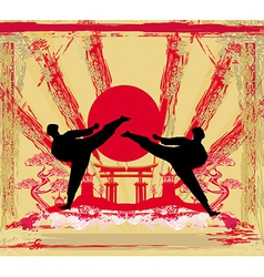 karate occupations - Grunge background vector image