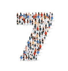 Large group people in number 7 seven form vector